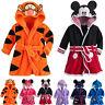 Boys Girls Hooded Bath Robe Dressing Gown Kids Cartoon Mickey Animals Nightwear