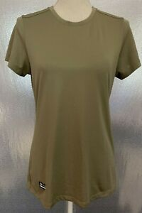 Under Armour Heat Gear Womens Sz M Tan Green Compression Tactical Tee Shirt