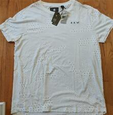 Mens Authentic G-Star Raw Allover Printed Cotton T-Shirt Milk 2XL $75