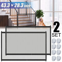 2X Portable Indoor Baby Pets Dog Safety Gate Mesh Net Fence Barrier Stairs Doors