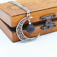 Lava Rock Beads w/ Hollow Silver Moon Pendant 50cm Chain Jewelry Necklace Gift