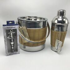 Tommy Bahama Stainless Wicker Ice Bucket & Shaker Set Barware Tiki Party Mancave
