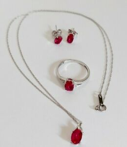 Simulated or Lab Created Ruby 10k Gold Necklace Earrings Ring Set