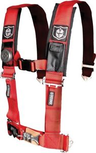 """Pro Armor UTV SXS 4 Point Harness Belt with 3"""" Pads Red A114230RD"""
