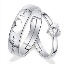1 Pair Lovers Romantic Heart Crystal Couple Rings Her and His Promise Ring