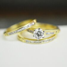14k Solid Yellow Gold Over 1.55CT Round Diamond Trio Ring Set Engagement Wedding