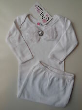 Oh Baby Couture layette gown w pearl/rhinestones + rosettes size 000 Fits 0-3m