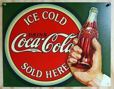 Ice Cold Coca Cola Sold Here Tin Metal Sign Pop Soda Bottle Restaurant Diner
