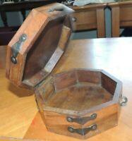"""Vintage Octagon Wood Lidded Hinged Trinket Box  7"""" x 7"""" x 3 1/2"""""""