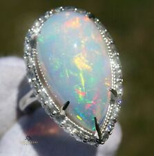 Opal Gold Ring Diamond Natural 14K White 11.26CTW GIA Certified RETAIL $11,600