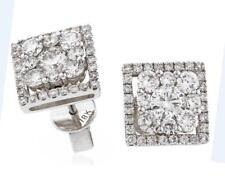 Pendientes de diamantes Halo 1.50 CT F vs Corte Brillante Redondo, Oro Blanco 18 CT, perforado