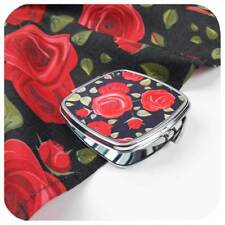 Rockabilly Rose Gift Set, Red Roses Scarf and Compact Mirror, Pin Up Girl Gift