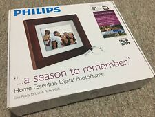 """Philips Photo Brown Frame 8"""" inches LCD Panel Digital Frame Stores 1000 photos"""