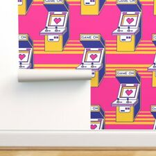 Removable Water-Activated Wallpaper Retro Arcade Games Neon Pink Video Game