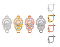 Findings Sterling Silver Leverback Hoop Earrings with Open Ring 14.5x12mm