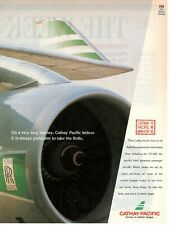 1992 Publicité'Vintage Cathay Pacific Airlines Hong Kong Rolls Royce Powered