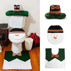 Toilet Seat & Cover & Rug Set Bathroom Soft Mat Christmas Decoration Supplies N7
