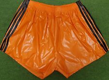 Retro PU Nylon Football Shorts S to 4XL, Orange - Black