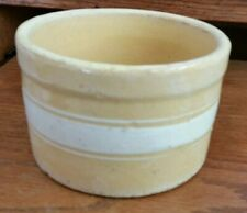 Vintage Brush/McCoy? Yellow Ware Stripe Salt/Butter Crock -No Lid