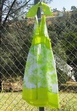 Lele For Kids Girls Green and White Ruffled Summer Halter Dress Size 7-8