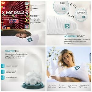 NEW Pillow+PREMIUM Adjustable Loft+Soft Hypoallergenic Microfiber Pillow S/Q