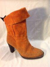 Ladies Orange Mid Calf Suede Boots Size 38