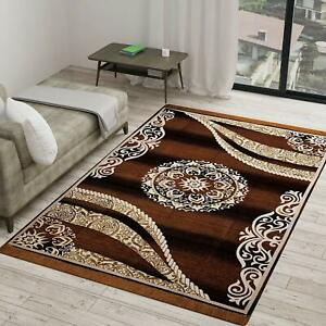 Camel-Brown Color Printed Carpet (5 x 7 ft) Made Of Velvet For Home Decoration