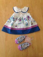 NWT Gymboree Hippos and Bows Beach Cabana Dress Crib shoes Set 4pc 0 3M baby