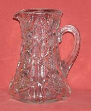 Clear Crystal Pitcher Snow Flake Pattern Applied Handle