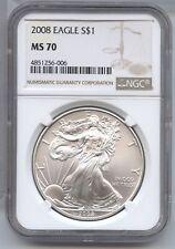 2008 American Eagle 1 oz Silver Dollar NGC MS 70 Certified bullion Ounce - AS573