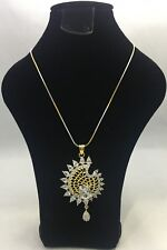 Gold & Silver Plated with Marquise Shaped Diamonds Necklace & Earring (Handmade)