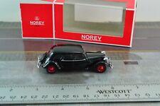 Norev 310808 1939 Citroen 15-Six Car Black Metal 1/64 Scale