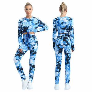 2Pcs Women Tie Dye Print Suits Round Neck Long Sleeves Cropped Tops Sportswear