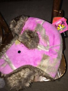 Hot Shot Ladies Pink Camo Insulated Fleece Bomber Trapper Hat Fur S/m New!!!!