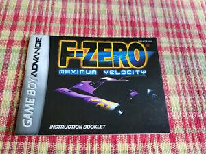 F-Zero Maximum Velocity - Authentic - Nintendo Game Boy Advance - Manual Only!