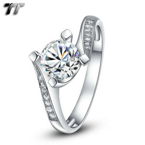 TT RHODIUM 925 Sterling Silver 1.25 Ct Engagement Wedding Ring (RW24)