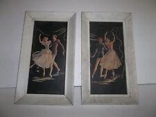 EXCLUSIVE ANTIQUE FRAMED BALLERINA BALLET DANCERS PRINTS (2) SIGNED LITHO CANVAS