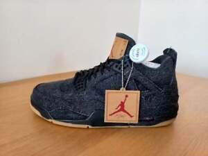 Nike Air Jordan 4 Retro Levi's Black Mens Basketball Shoes Trainers UK 12
