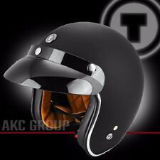 Open Face Retro Vintage Style 3/4 Motorcycle Scooter Helmet Flat Black X-Large