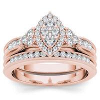 IGI Certified 10k Rose Gold 0.50 Ct Diamond Vintage Engagement Ring With 1 Band