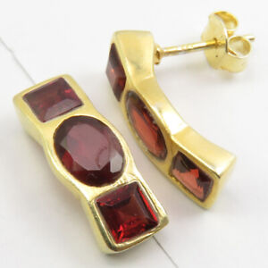 """Yellow Gold Flashed 925 Sterling Silver Oval, Square GARNET Studs Earrings 0.7"""""""