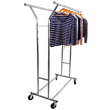 Heavy Duty Double Closet Rod Bar Commercial Grade Clothing Garment Rolling Racks
