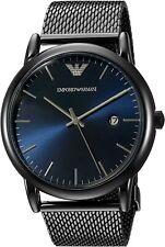 Emporio Armani Luigi Date 43mm Blue Dial Gunmetal Steel Mesh Men's Watch AR11053