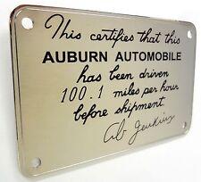 Ab Jenkins Auburn Speedster Dash Plaque Over 100 MPH 1935 1936 Replicar part 851