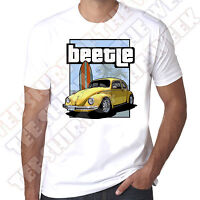 Yellow Surf Bug Classic Beetle Mens 100% cotton White T-shirt
