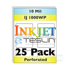 Inkjet Teslin Paper - 8up Perforated - For Making PVC-Like ID Cards - 25 Sheets