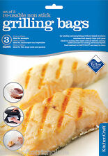 Kitchen Craft Set Of 3 Non Stick Re-Usable Food Contact Grill Toaster Bags