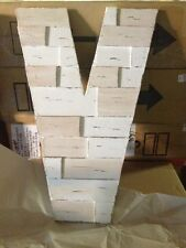 Pottery Barn Teen Reclaimed Pine Wood Hand Carved Rustic Letter Capital V White