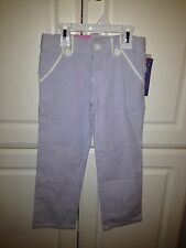 NWT Cherokee-Pinstriped Blue and White Pants Girls Sz 4