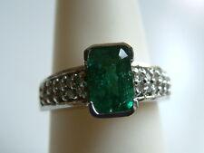Lovely Emerald & Diamond Ring 1.47ctw 14k-solid white Gold $3500